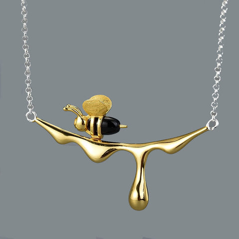 Stunning Honey Drip Bee Pendant