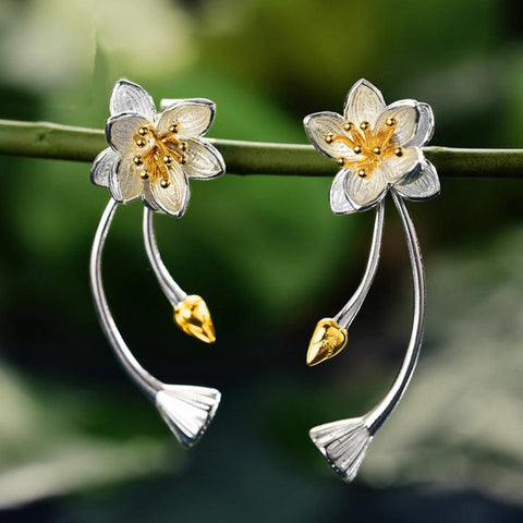 Silver Lotus Whisper Earrings