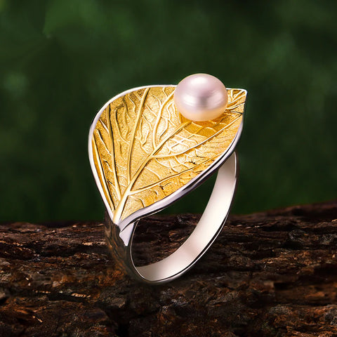 Natural Pearl Leaf Rings