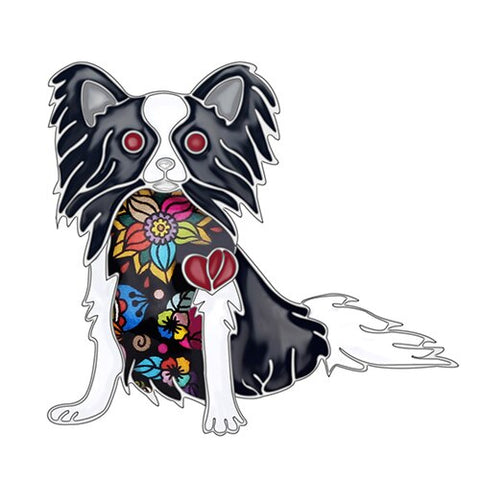 Cute Papillon Dog Brooches