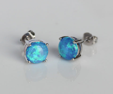 Ocean Shimmer Fire Opal Stud Earrings