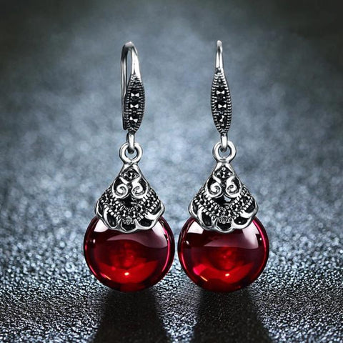 Vintage Living Fire Red Garnet Earrings