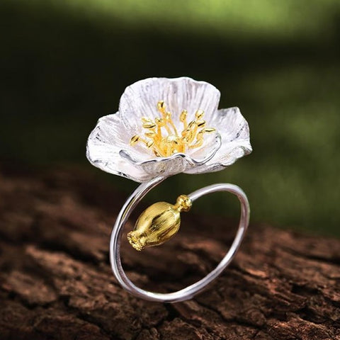 Blooming Poppies Flower Ring