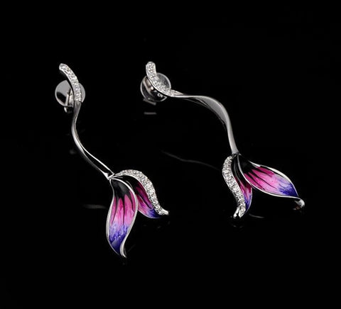 Crystal & Sterling Silver Flower Drip Earrings
