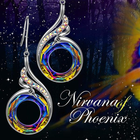 Nirvana of Phoenix Silver Crystal Earrings