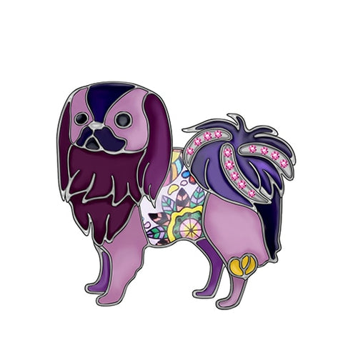 Japanese Chin Dog Brooches
