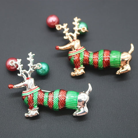 Christmas Sausage Dog Brooches