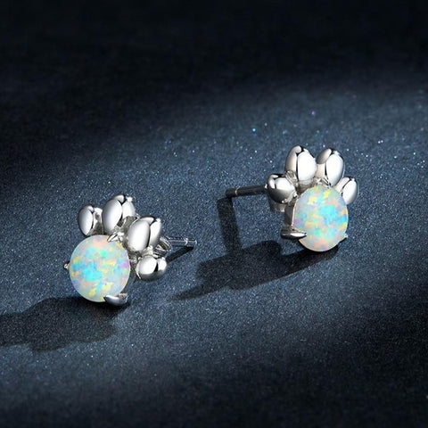 Opal Silver Paw Earrings