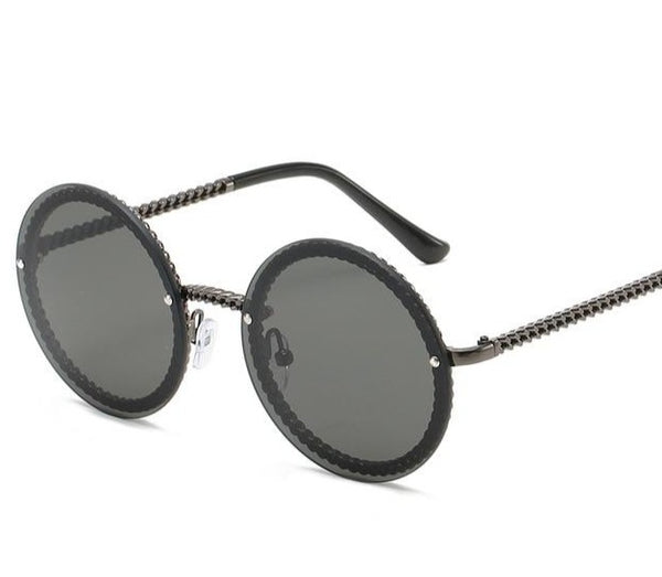 Chain Link Rimless Round Sunglasses