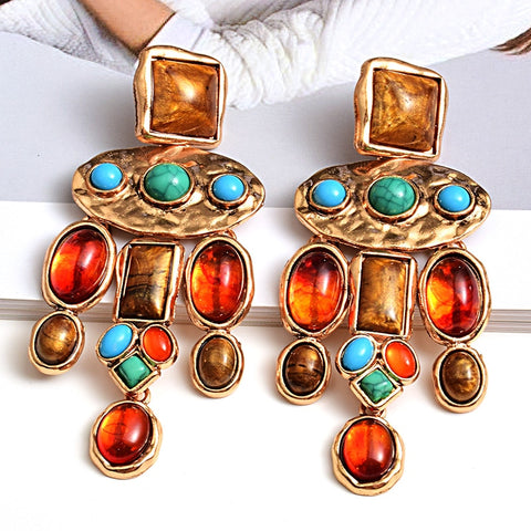 Vibrant Aztec Drop Earrings