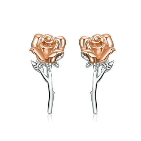 Stunning Silver Rose Earrings