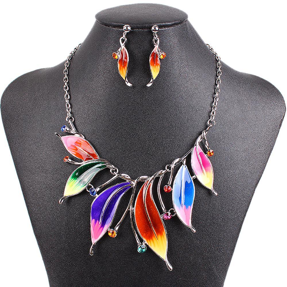 Tropical Leaf Drop Jewelry Sets