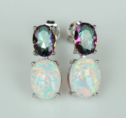 White Fire Opal Crystal Earrings