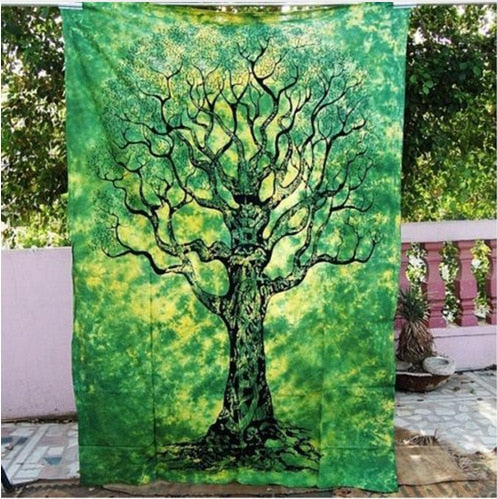 Gorgeous Green Tree of Life Tapestry