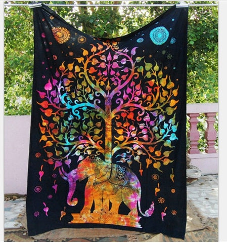 Tree of Life Rainbow Elephant Tapestry