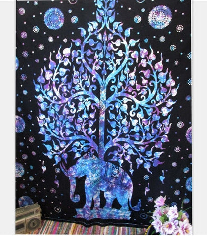 Magical Night Sky Tree of Life Elephant Tapestry