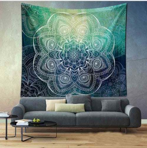 Green Ombre Mandala Tapestry