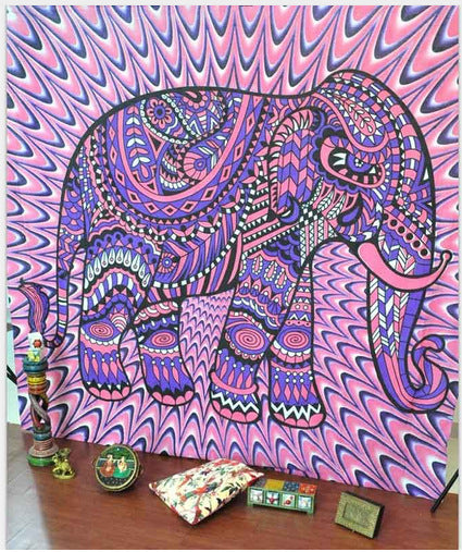 Pink & Purple Burst Elephant Tapestry