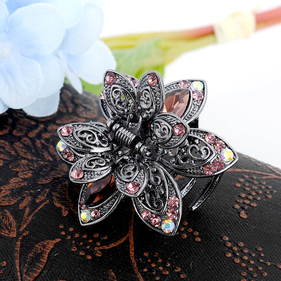Vintage Flower Crystal Hair Claws