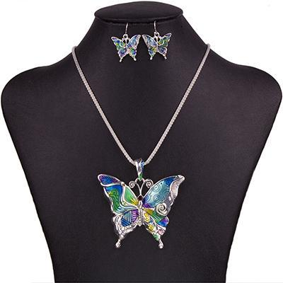 Marbled Butterfly Jewelry Set