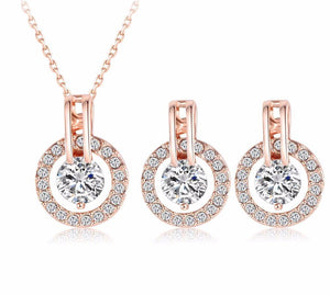 Rose Gold Crystal Jewelry Sets