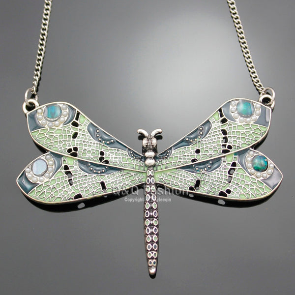 Victorian Green Dragonfly Necklace