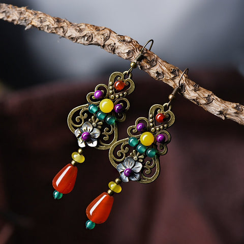 Antique Flower Stone Drop Earrings