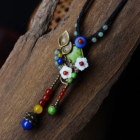 Ethnic Shell Flower Red Carnelian Necklace