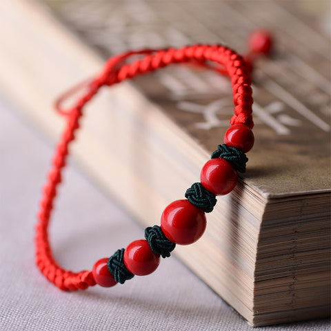 Red Natural Stone Waxed Rope Bracelet