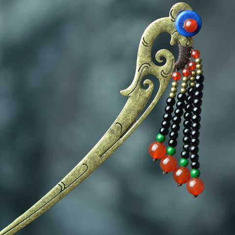 Red & Black Carnelian Drop Hair Stick