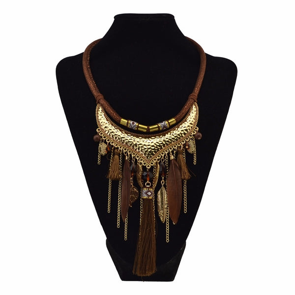 Ethnic Vintage Feather Tassel Necklaces