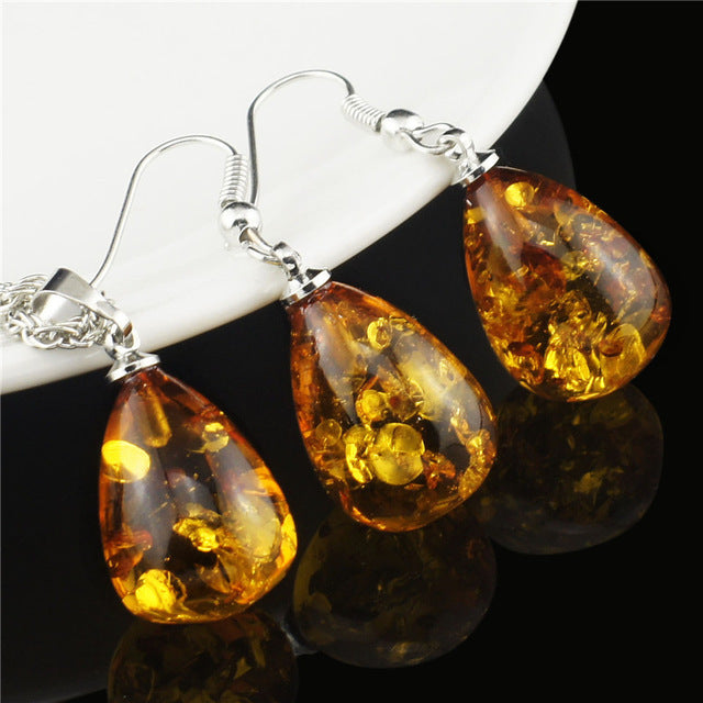 Amber Tear Drop Jewelry Set