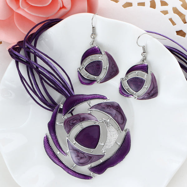 Boho Crystal Leather Necklace & Earring Sets