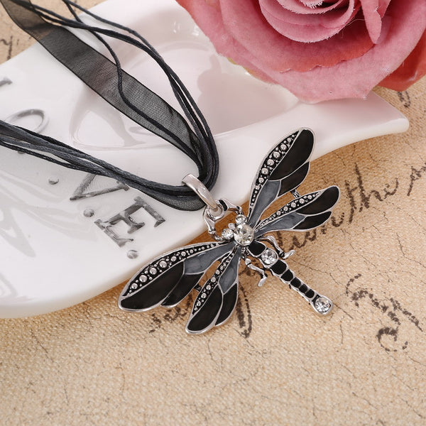 Vintage Ribbon Dragonfly Pendants