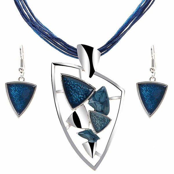 Chic Crystal Leather Necklace & Earring Sets