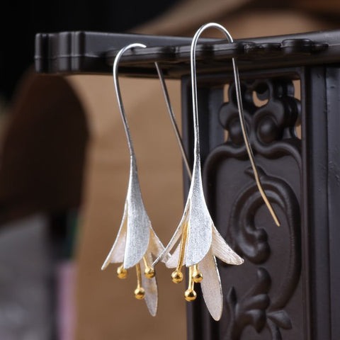 Exquisite Sterling Silver Flower Drop Earrings