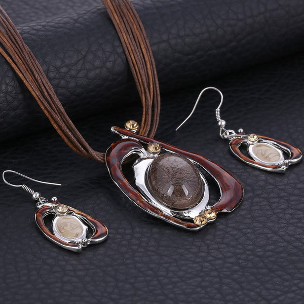 Enamel Stone Jewelry Set