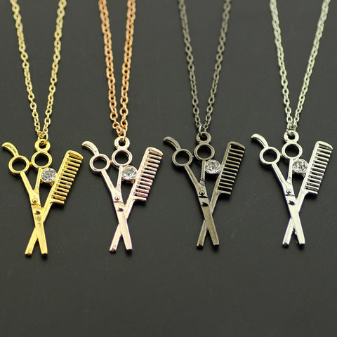 Scissor Comb Charm Necklaces