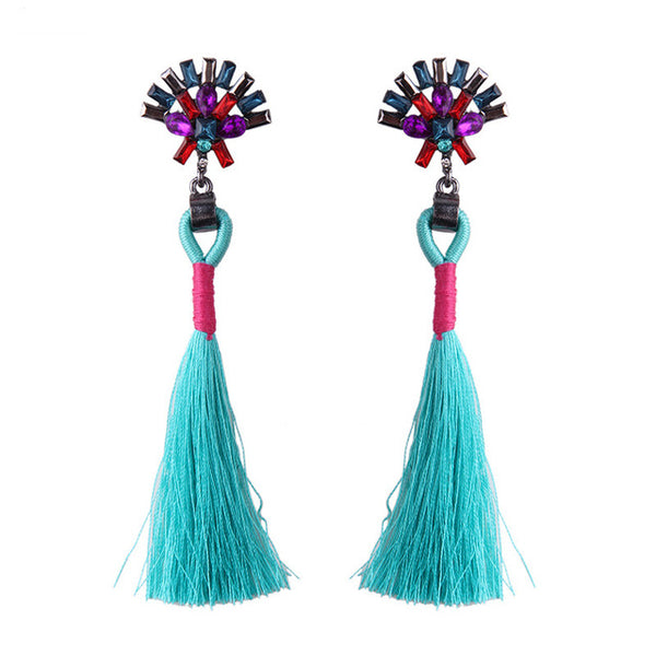 Boho Rainbow Tassel Earrings