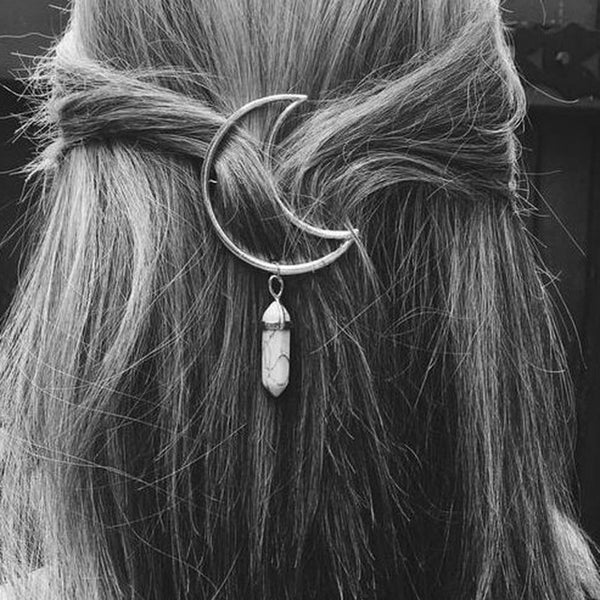 Vintage Natural Stone Moon Hairpins