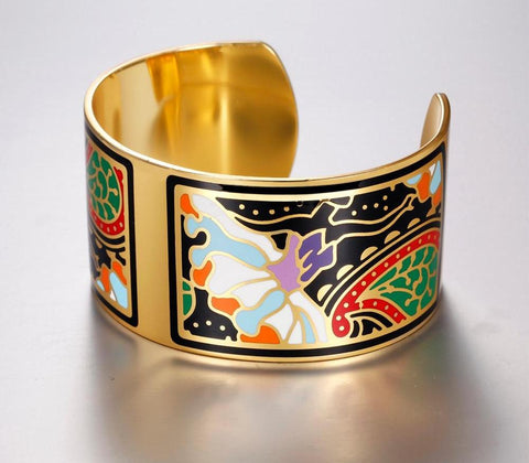 Beautiful Enamel Ballerina Cuff Bracelet