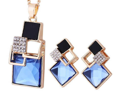 Chic Geometric Crystal Jewelry Sets