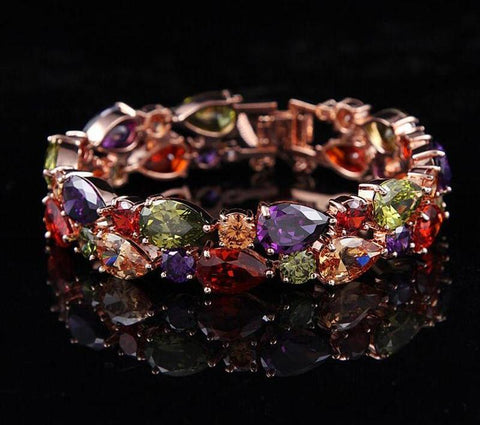 Rainbow Crystal Jewel Cuff Bracelet