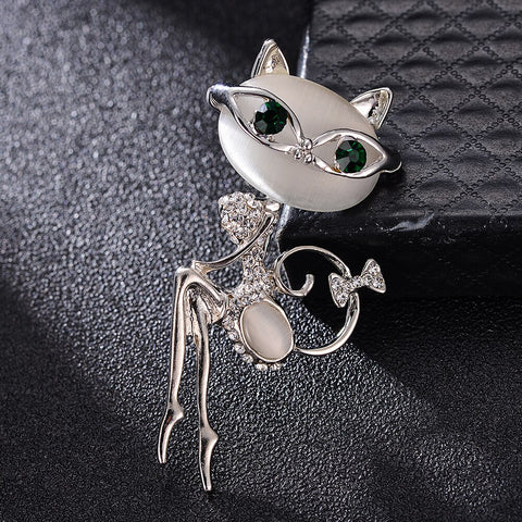Crystal Chic Cat Eye Brooch