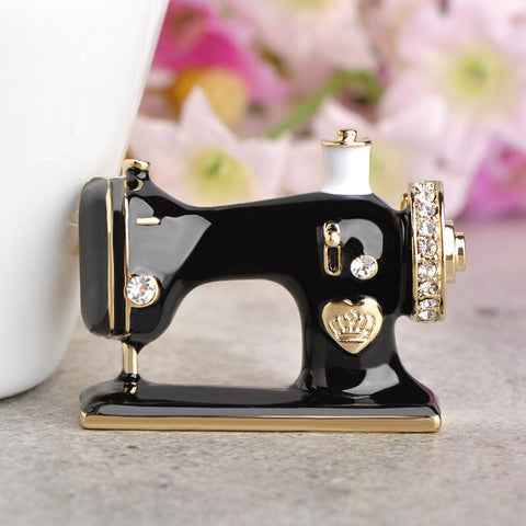 Chic Enamel Sewing Machine Brooch