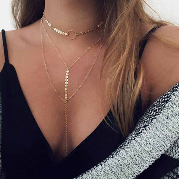 Choker Chain Necklace Set
