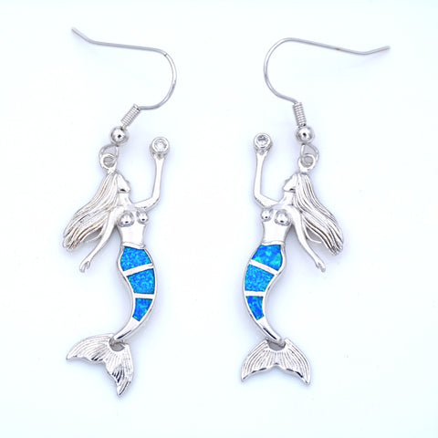 Cute Mermaid Earrings with Lab-created Ocean Blue Opal