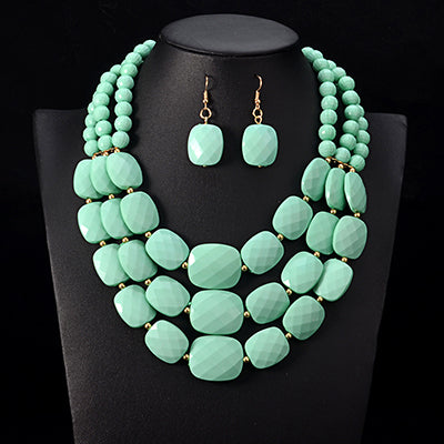Multi Layered African Beads Jewelry Set