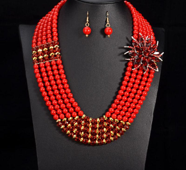 African flower beads Jewelry Set