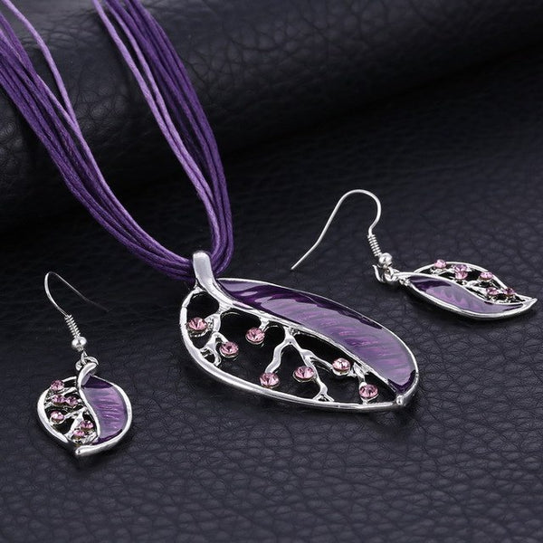 Enamel Leaf Jewelry Set